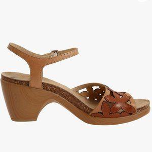 Dankso Coquette Leather Heeled Sandal Floral EUC
